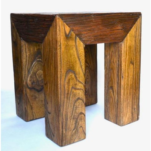 A wonderful and rare sandblasted heavy hardwood side table by California Designer Ron Mann. I bought this table at Ron...