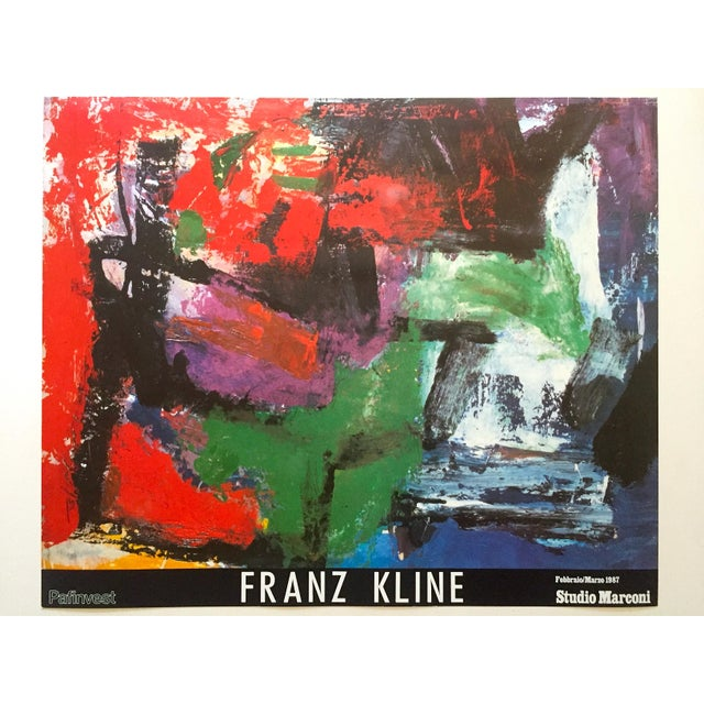"""Franz Kline Rare Vintage 1987 Abstract Expressionist Lithograph Print """" Pafinvest Studio Marconi """" Italian Exhibition Poster For Sale - Image 13 of 13"""