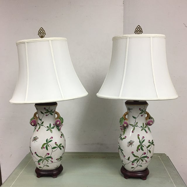 Handpainted Asian Table Lamps - A Pair - Image 2 of 7