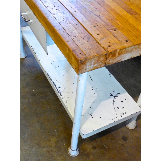 White Iron Kitchen Island With Butcher Block - Image 10 of 10