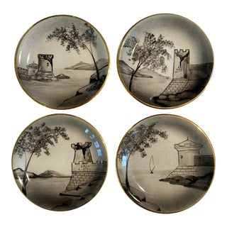 Vintage Bellagio Italian Hand Painted Small Scene Plates - Set of 4 For Sale