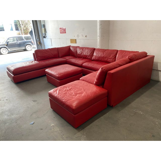 Red Belmar Custom Design 5-Piece Leather Leipzig Sectional For Sale - Image 8 of 13