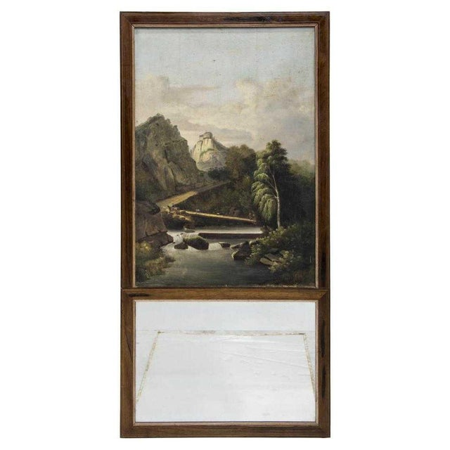French Trumeau Mirror With Idyllic Pastoral Landscape For Sale - Image 4 of 5
