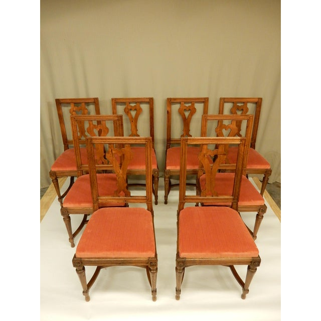 Eight 19th C Walnut Louis XVI Dining Chairs For Sale - Image 9 of 9