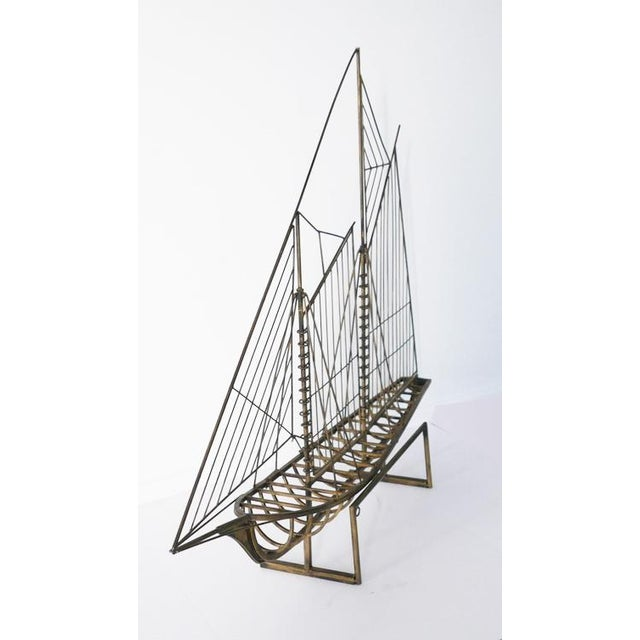 Mid-Century Modern Vintage Brass Skeleton Ship Sculpture Attributed to Curtis Jeré For Sale - Image 3 of 6