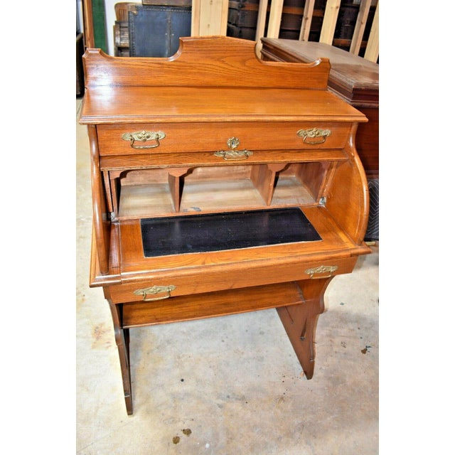 Early 20th Century Antique Oak Drum Roll Top Desk For Sale - Image 5 of 11