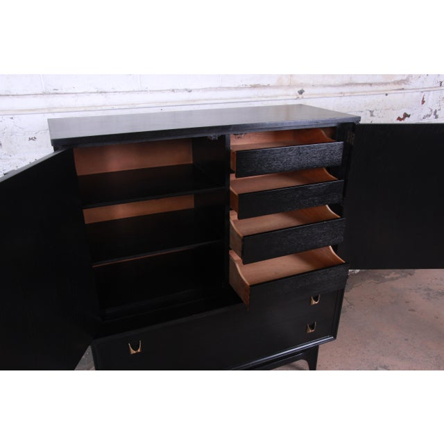 Metal Broyhill Brasilia Mid-Century Modern Ebonized Gentleman's Chest, 1966 For Sale - Image 7 of 13
