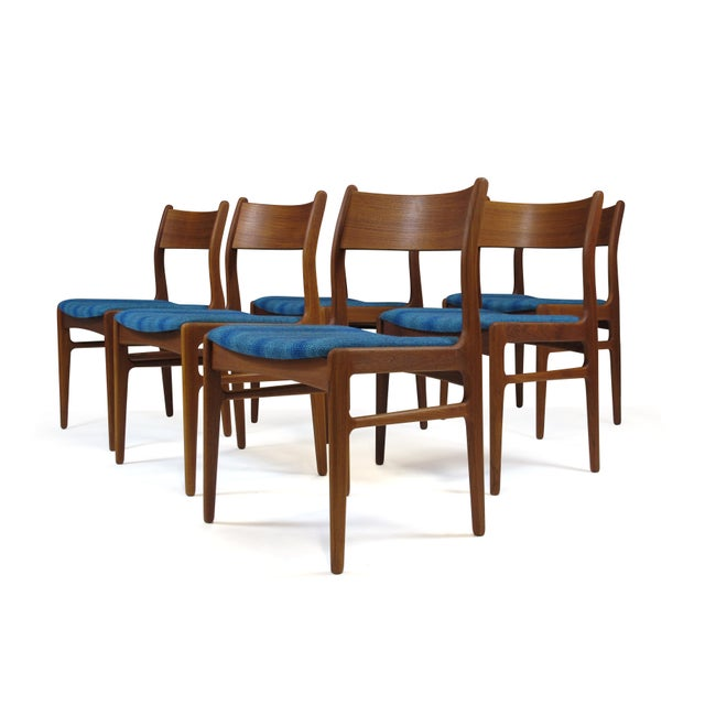 Funder-Schmidt and Madsen Teak Dining Chairs in Blue Wool - Set of 6 For Sale - Image 11 of 11