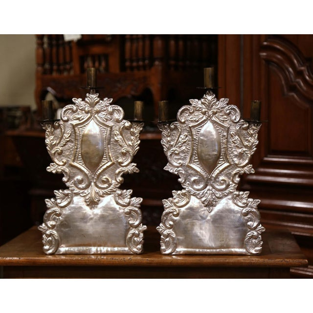 Early 20th Century Mid-20th Century Italian Pair of Carved Brass Silvered Three-Light Candelabras For Sale - Image 5 of 11