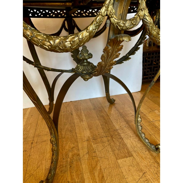 Antique French Bronze Regency Black Marble Top Table For Sale - Image 4 of 5