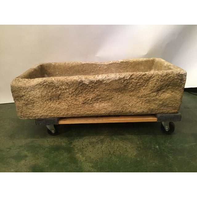 Rustic Cast Stone Farm Sink/Planter/Water Feature For Sale - Image 12 of 12
