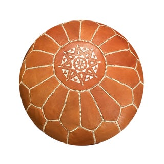 Light Tan Moroccan Pouf Ottoman Cover For Sale