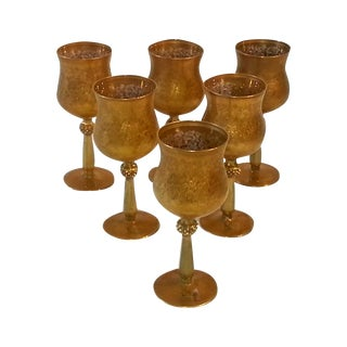 Arte Italica Goblets with Gold Leaf - Set of 6 For Sale