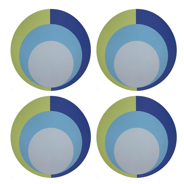 """Contemporary Color Block Acid Green Blue, 16"""" Round Pebble Placemats, Set of 4 For Sale - Image 3 of 3"""