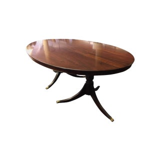 Antique English Georgian Oval Dining Room Mahogany Table With Double Pedestals For Sale