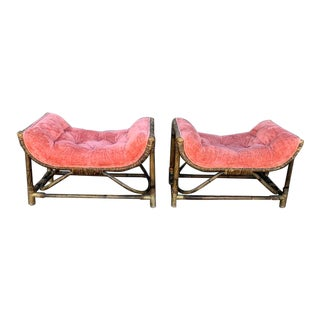 1950s Upholstered Salmon Tufted Ottoman - a Pair For Sale