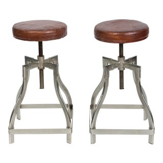 Industrial Adjustable Stools With Leather Seats - a Pair For Sale