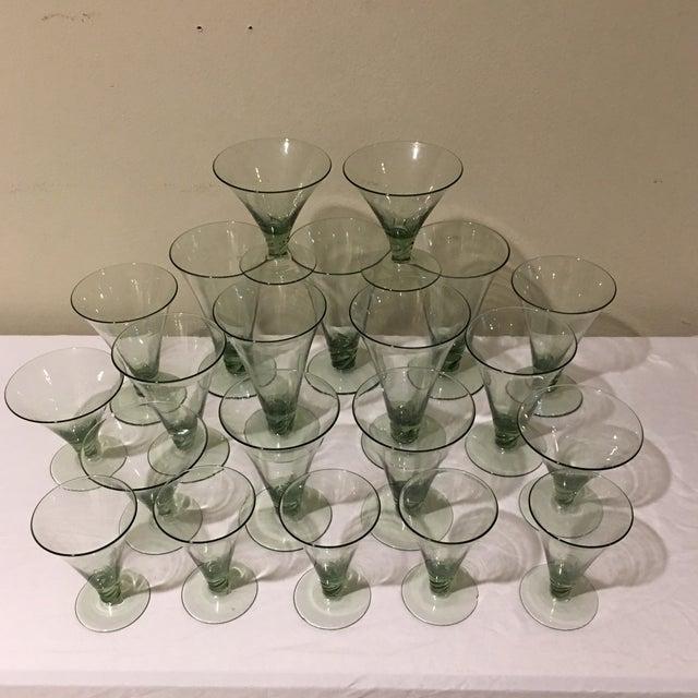 Modern Vintage Green Holiday Glasses - Set of 21 For Sale - Image 3 of 5