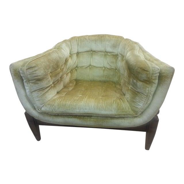 Gio Ponti Original Tufted & Tucked Gold Velvet Tripod Club Chair - Image 1 of 11
