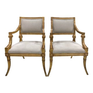 Late 20th Century Gilt Hollywood Regency Style Fauteuils- A Pair For Sale