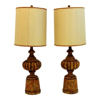 Mid-Century Modern Pair of Michael Taylor for Chapman Gesso Stone Table Lamps For Sale