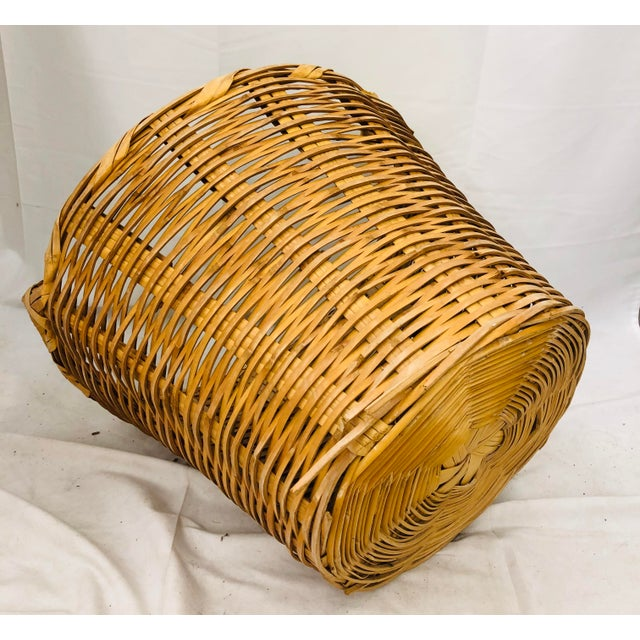 Brown Vintage Natural Woven Wicker Laundry Basket For Sale - Image 8 of 9