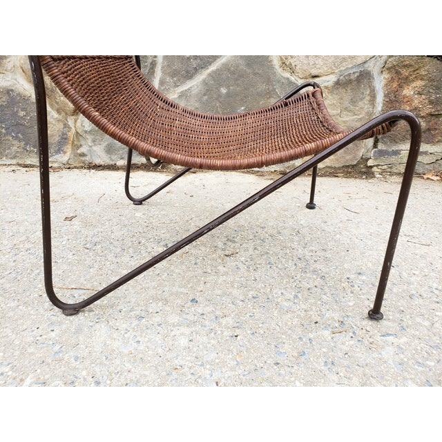 Black Mid Century Frederic Weinberg Wrought Iron & Rattan Lounge Chair For Sale - Image 8 of 13