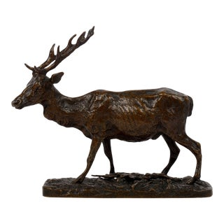 Circa 1840s French Antique Bronze Sculpture of a Walking Stag by Pierre Jules Mene For Sale