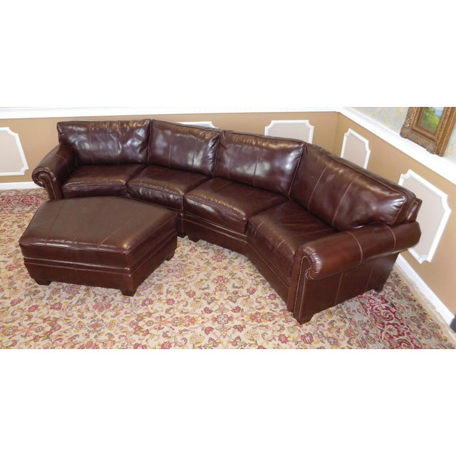 Leather Sofas For Sale In Northern Ireland: 3-Piece Bernhardt Brown Leather Sectional Sofa & Ottoman