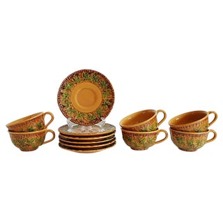 Italian Majolica Cups & Saucers - 12 Pieces