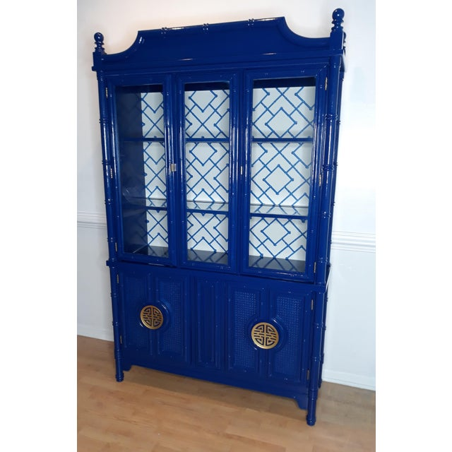 Faux Bamboo Navy Blue Lacquered China Cabinet For Sale - Image 4 of 13