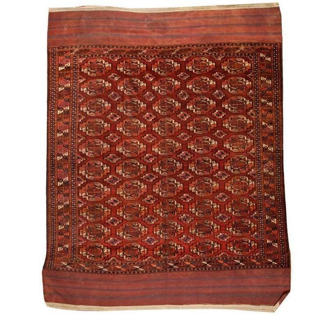 Antique mid-19th century part silk Turkoman Salor carpet. Contact dealer. Excellent condition.
