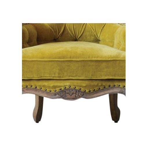 French French Style Chartreuse Velvet Classic Armchair For Sale - Image 3 of 5