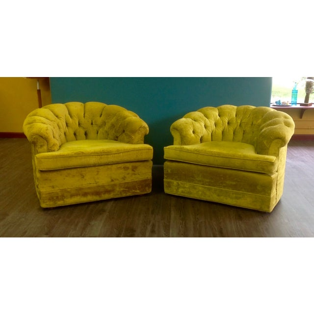 Mid-Century Tufted Chartreuse Club Chairs - A Pair - Image 5 of 8