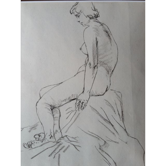 Asian Pencil Nude Sketches - Pair For Sale - Image 3 of 4