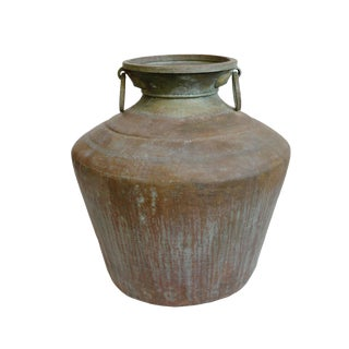 Large Antique Copper & Brass Pot For Sale