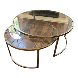 Bronze Gold Nesting Coffee Tables - A Pair For Sale