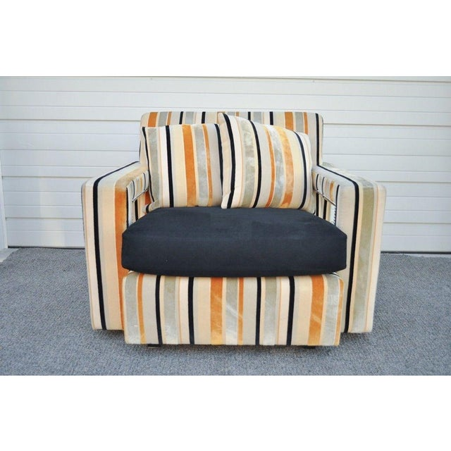 Contemporary Large Hollywood Regency Modern Striped Upholstered Lounge Club Movie Arm Chair For Sale - Image 3 of 11