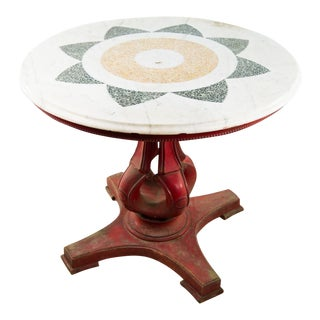 Moroccan Marble & Stone Mosaic Round Table For Sale