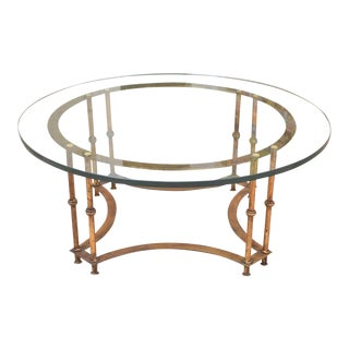 1990s Vintage Hollywood Regency Style Faux Bamboo & Glass Coffee Table