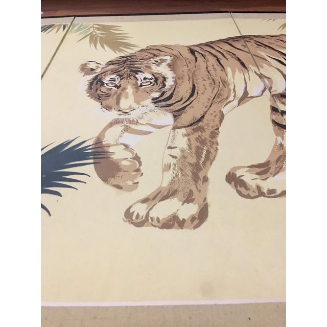 Art Deco 1940's Tiger & Foliage Panel Painting on Silk - Image 2 of 7
