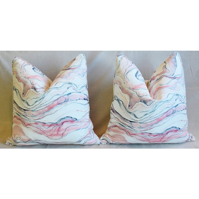 "Modern Blush-Pink Marbleized Feather/Down Pillows 22"" Square - Pair For Sale In Los Angeles - Image 6 of 13"
