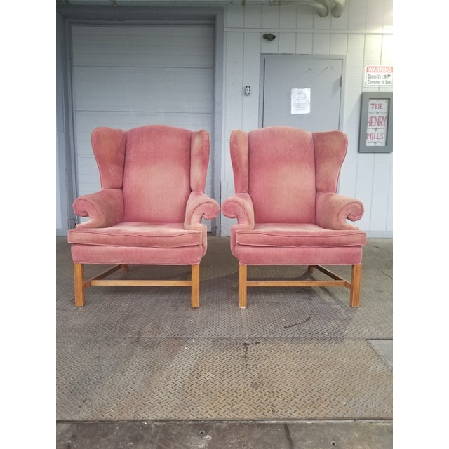 Vintage Rose Colored Velvet Wingback Chairs - Pink Velvet Chairs - a ...