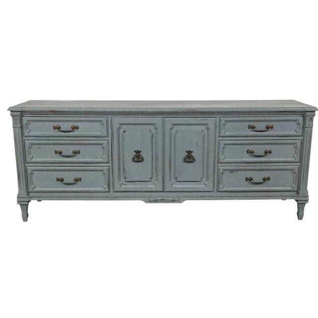 Vintage Gray-Blue Credenza - Image 1 of 11