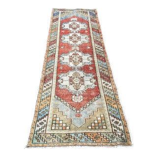 1960s Turkish Faded Red Oushak Rug-3′1″ × 9′4″ For Sale