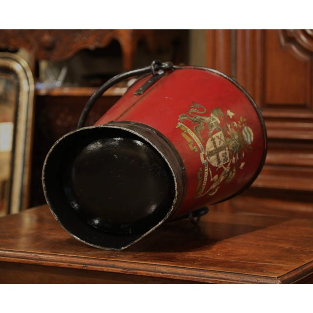 19th Century French Black and Red Iron Coal Basket With Decorative Painted Decor For Sale - Image 10 of 11