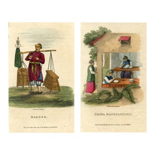 Chinese Tradesmen, Pair of 1820s Engravings For Sale