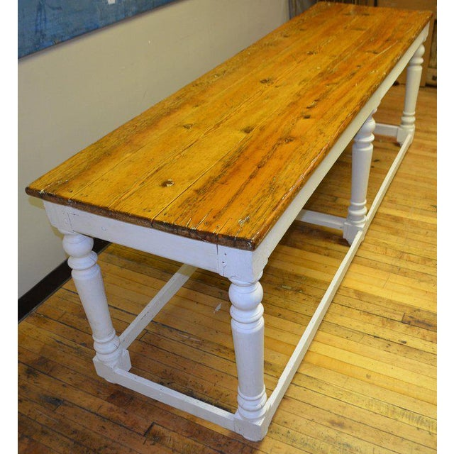 Arts & Crafts Kitchen Island Restaurant Prep From Rectory Table 100 Years Old. Ships Free. For Sale - Image 3 of 11
