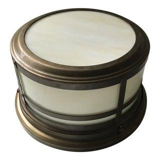 Restoration Hardware Albany Flushmount Light in Antique Brass For Sale