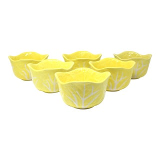 Vintage Yellow Cabbageware Soup Bowls - Set of 6 For Sale